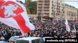 For 11th Week In A Row, Thousands March In Minsk To Protest Lukashenka