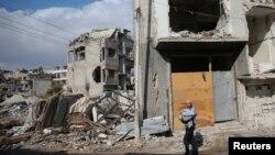 Развалины в подконтрольном повстанцам районе Дамаска