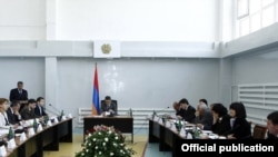 Armenia -- Prime Minister Tigran Sarkisian holds a meeting of his cabinet in Gavar, 24June 2010.