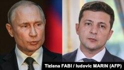 Володимир Зеленський, праворуч, і Володимир Путін (комбіноване фото)