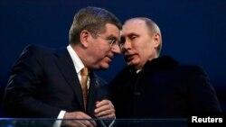 Beynəlxalq Olimpiya Komitəsinin prezidenti Thomas Bach və Rusiya prezidenti Vladimir Putin