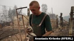 Обгоревший кот через два дня вернулся туда, где был дом. Борковка.