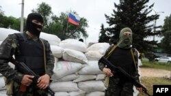 Блокпост сепаратистов в Донецке
