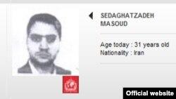 نام و عکس مسعود صداقتزاده در فهرست پلیس بینالملل، اینترپل.