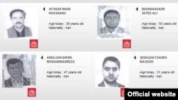 تصاویر منتسب به چهار متهم ایران که در وبسایت رسمی اینترپل منتشر شده است.