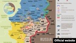 Украина шарқида Донбас ўлкасида 14 сентябрь кунги вазият акс этган харита.