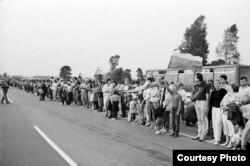 Pe 23 august 1989, la manifestația de solidaritate din țările baltice