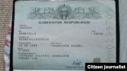 Uzbekistan / Russia - Kakharov Nematulla lost his passport in Moscow, Moscow, 18.06.2015.