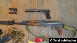 "Nagorno-Karabakh - Weapons which the Karabakh Armenian military says were confiscated from an arrested member of an Azerbaijani ""sabotage"" group, 10Jul2014."