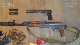 Nagorno-Karabakh - Weapons which the Karabakh Armenian military says were confiscated from an arrested member of an Azerbaijani commando unit, 10Jul2014.