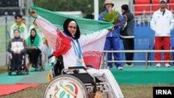 Ирандық садақшы қыз Арчер Зэһра Немати Паралимпиада алтын медалін жеңіп алды. Лондон, 4 тамыз 2012 жыл