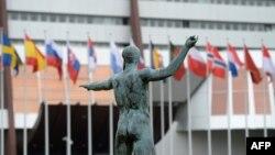 Եվրախորհրդի շենքի մուտքը, Ստրասբուրգ, Ֆրանսիա