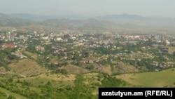 Nagorno-Karabakh - A panoramic view of Stepanakert, 8Jul2011.