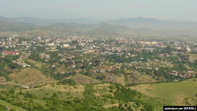 Nagorno-Karabakh - A general view of Stepanakert from a nearby hill, 8Jul2011.