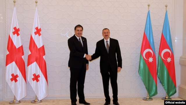 Georgian President Mikheil Saakashvili (left) and his Azerbaijani counterpart, Ilham Aliyev, met in Baku in March 2012.