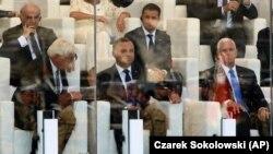 Președintele Andrzej Duda (centru), vicepreședintele SUA Mike Pence (dreapta) și președintele Ucrainei Volodimyr Zelenski (centru-spate), ceremoniile comemorative de la Varșovia, 1 septembrie 2019