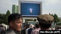 Жыхары КНДР назіраюць за пускам ракеты