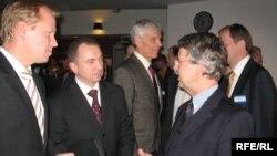 злева направа: Райнэр Лінднэр, Уладзімер Макей, Гэбхардт Вайс