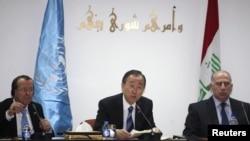 بان كي مون يتوسك النجيفي ومبعوثه كوبلرز بغداد 6كانون 2012