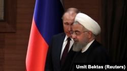Владимир Путин и Хасан Роухани во время пребывания в Анкаре.