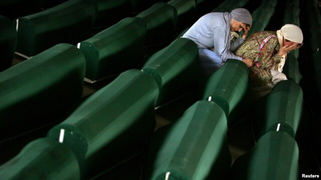 Victims of the Srebrenica massacre awaiting burial