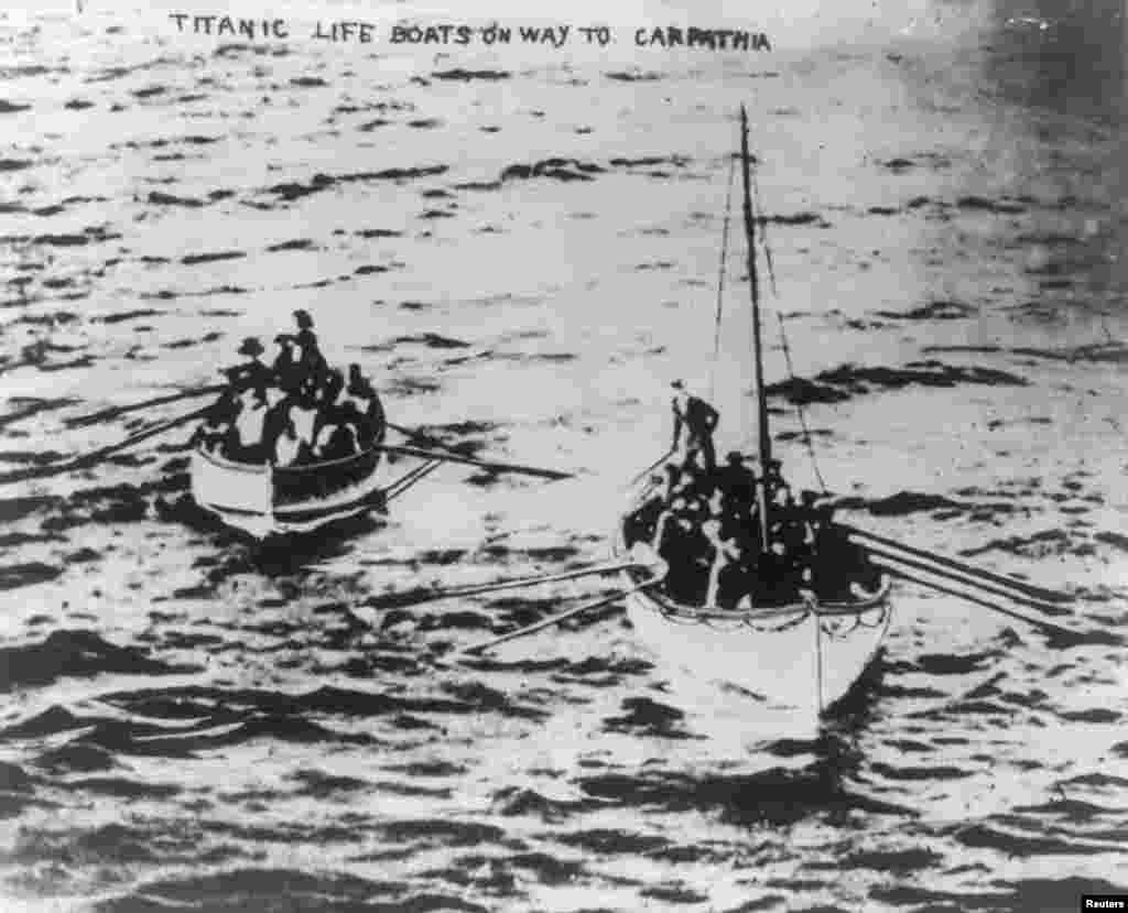"Lifeboats from the ""Titanic"" on their way to the ""Carpathia"" on April 15, 1912, following the disaster."