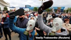 Участники протеста в поддержку оппозиционных кандидатов, Минск, 24 мая 2020 года