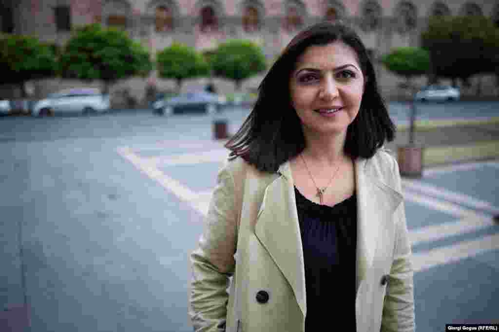 "Elen Asatryan, political analyst Glendale, California, United States ""We were also organizing [demonstrations] back in Glendale, because there is a large Armenian-American community there. It was all very uplifting. Many of us cried many happy tears."""