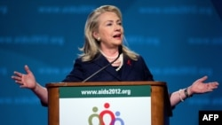 U.S. Secretary of State Hillary Clinton speaks at the 19th International AIDS Conference in Washington, D.C.