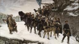 Густав Олаф Цедерстрем. Перенесение тела Карла XII через норвежскую границу. Вариант 1884 года.