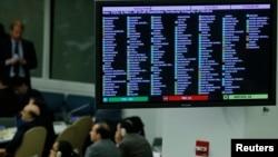 Результаты голосования на экране в зале Генеральной Ассамблеи ООН. Нью-Йорк, 27 марта 2014 года.