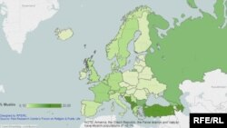 Чисельність мусульман у Європі (клікніть, щоб відкрити інтерактивну мапу)
