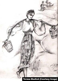 Такою я уявляла молоденьку тітку Віру, яка потім ще й стане моєю хрещеною матір'ю (малюнок Тетяни МакКой)