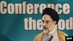 Mohammad Khatami addressing the conference in Tehran