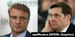 Aleksei Mordașov, proprietarul oțelăriei gigant Severstal, și German Gref, directorul-executiv al Sberbank. (epa/Reuters)