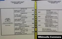 """Флоридский """"бюллетень-бабочка"""": имена кандидатов расположены на двух его половинах, кружки, которые нужно пробивать, – посередине. Стрелки указывают, какому кандидату какой кружок соответствует"""