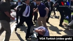 Erdogan's security guards attacking demonstrators in Washington, May 16, 2017