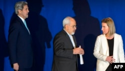 U.S. Secretary of State John Kerry, Iranian Foreign Minister Mohammad Javad Zarif, and EU foreign policy chief Federica Mogherini are meeting in Vienna to discuss progress made toward implementing a landmark nuclear agreement between Tehran and world powers.