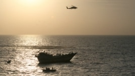 A U.S. Navy photograph of the U.S. operation to free the 13 Iranian sailors from captivity by pirates in the northern Arabian Sea on January 5.