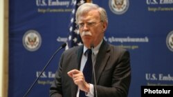 Armenia - U.S. National Security Adviser John Bolton speaks at a news conference in Yerevan, 25 October 2018.