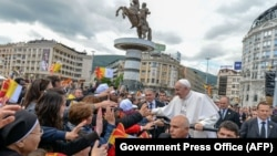 Pope Francis greets the crowds in Skopje on May 7.