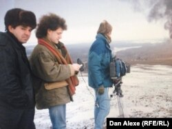 Dan Alexe în timpul filmărilor în Cecenia, la Groznîi