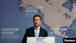 Մեծ Բրիտանիա - ՆԱՏՕ-ի գլխավոր քարտուղար Անդերս ֆոգ Ռասմուսենը ելույթ է ունենում Chatham House-ում, Լոնդոն, 19-ը հունիսի, 2014թ․