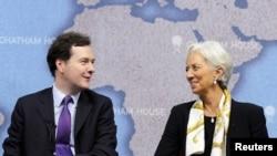 Министр финансов Великобритании Джордж Осборн и глава МВФ Кристин Лагард