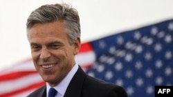 U.S. -- Republican Jon Huntsman speaks during a press conference to announce his bid for the presidency in Jersey City, 21Jun2011