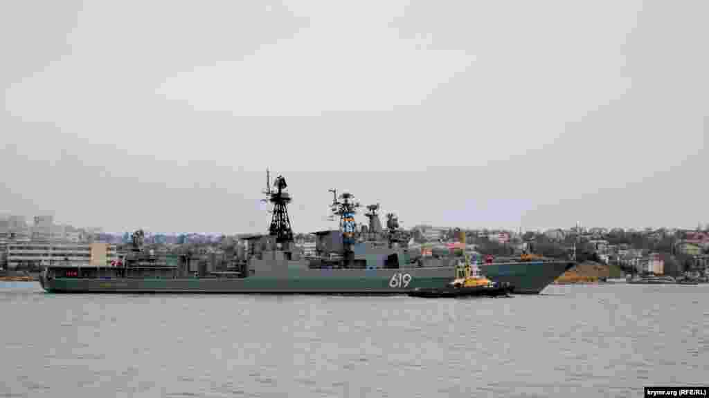 """Bayramlardan bir qaç kün keçken soñ, yanvar 9-ında saba Qara deñizge Rusiye Şimal flotunıñ arbiy gemisi, """"Severomorsk"""" raketalı esminets, kirdi. Yanvar 10-unda o endi Aqyarğa keldi - yerli rusiyeli matbuatnıñ bildirgenine köre, tamirlev içün"""