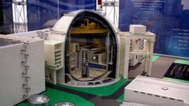 A model of an nuclear power station at an exhibition of the Iran nuclear industry in Isfahan on November 18.