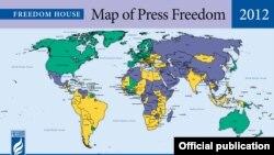 Мапа свабоды СМІ ў сьвеце паводле Freedom House