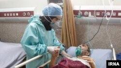 Coronavirus patient with nurse in Iran