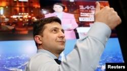 Володимир Зеленський у своєму штабі під час першого туру виборів 31 березня